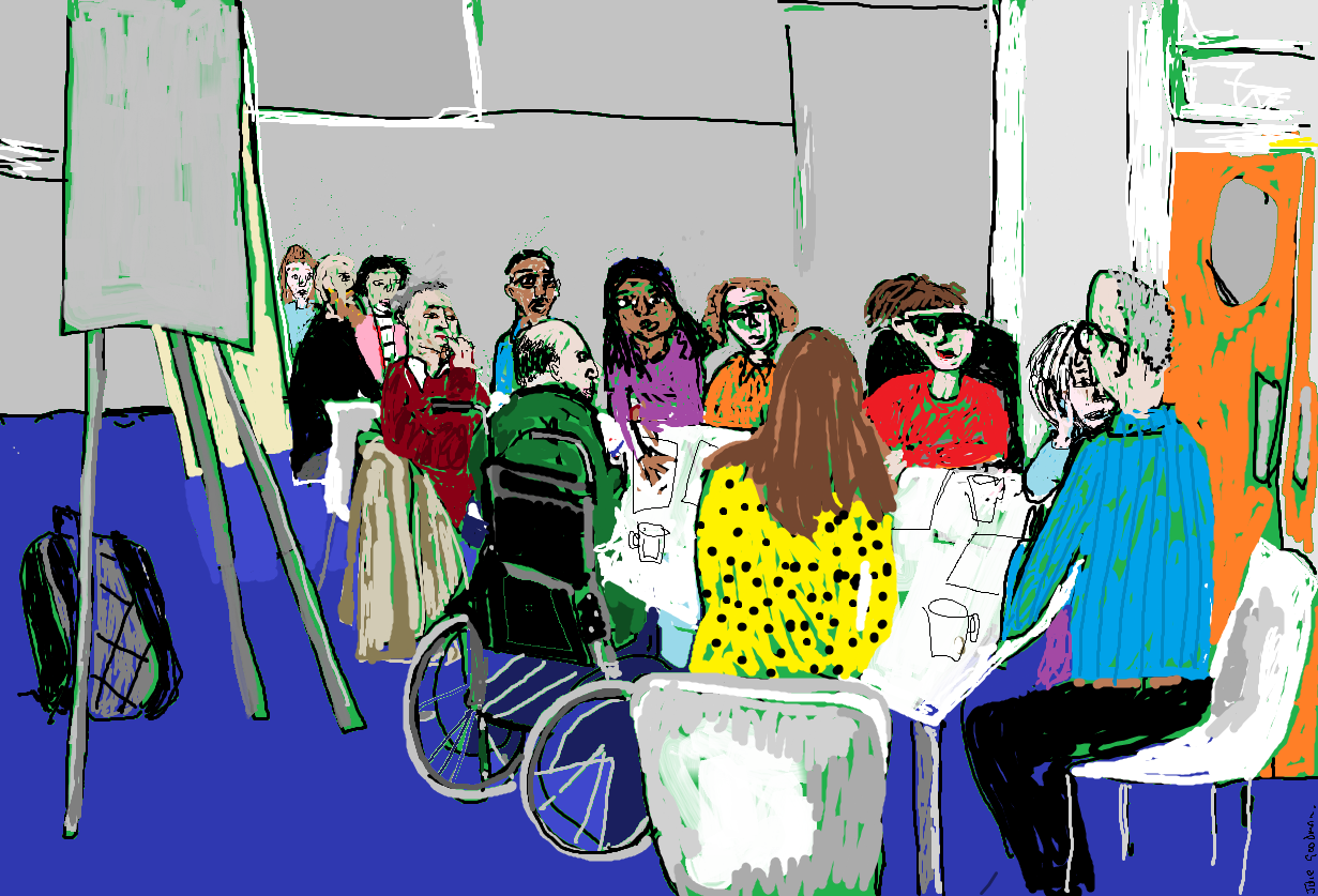 Painting showing a meeting of diverse people at a table
