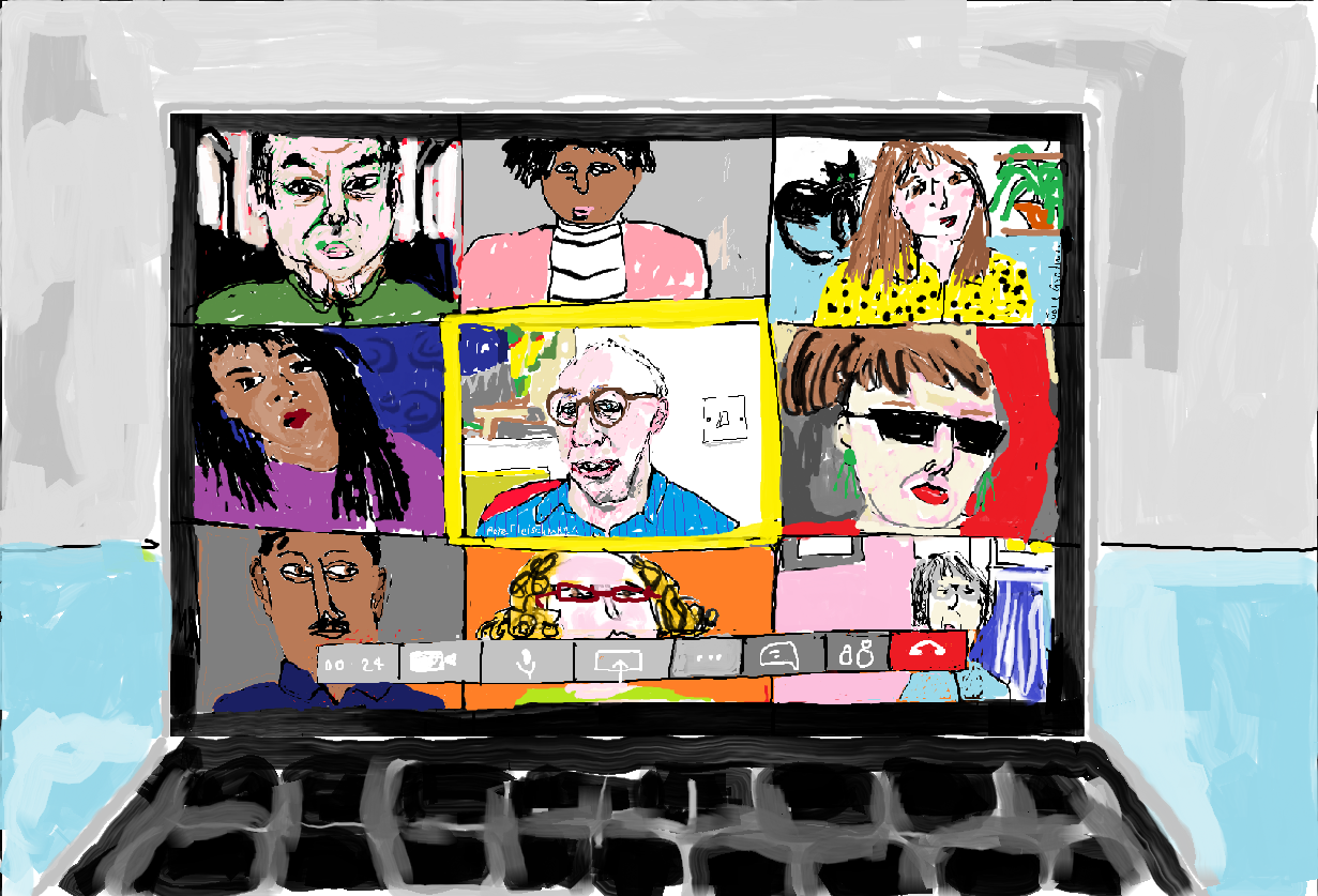 Painting showing a Virtual Meeting on a platform such as Zoom
